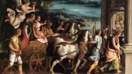 Maalaus jossa Caesar ihmisia ja hevosia